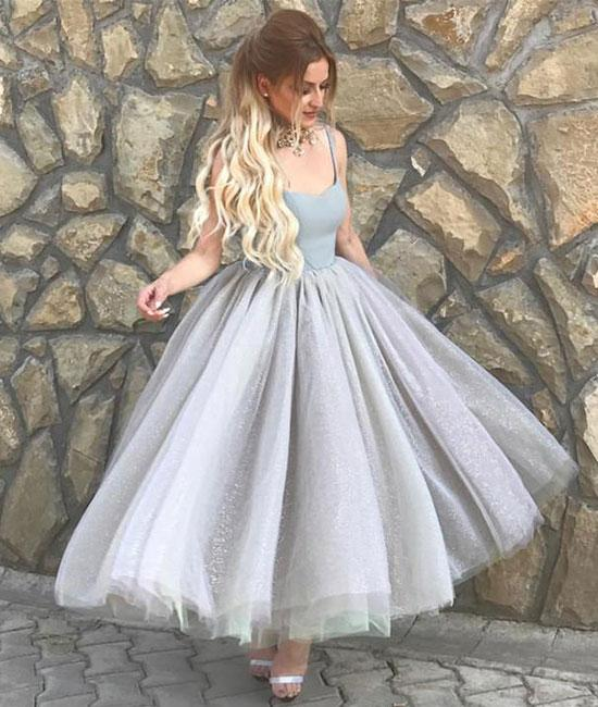 Simple sweetheart neck tulle tea Length prom dress, evening dresses,PD