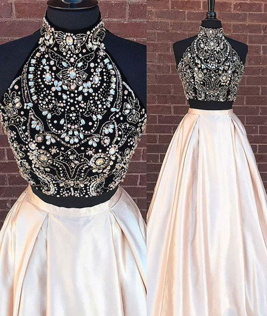 two pieces beads long prom dress, evening dresses,PD13006