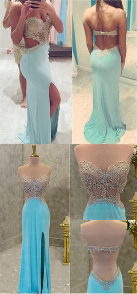 Blue backless prom dress, sexy prom dress, slit prom dress, 2017 prom dress, Long prom dresses, Prom dress online, Backless prom dress,360003