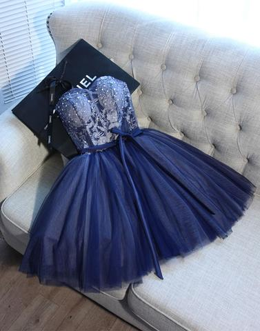 Cute blue sweetheart tulle short prom dress, blue homecoming dress,PD2005