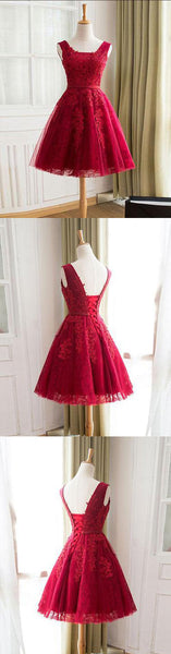 Burgundy tulle lace short prom dress, bridesmaid dress,PD2077