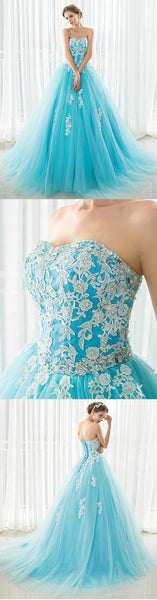 Blue sweetheart neck tulle lace applique long prom dress,BD2409
