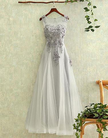 Gray tulle round neck lace long prom dress, evening dress,PD0812 - dream dress