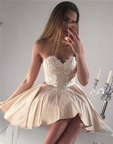 sweetheart neck lace applique short prom dress, cute homecoming dress,BD1703 - dream dress