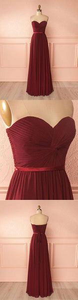 Simple sweetheart neck chiffon burgundy long prom dress, burgundy bridesmaid dress,BD173003