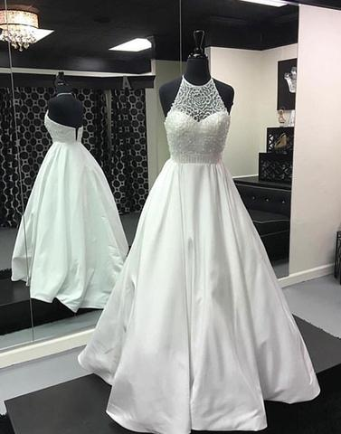 White beads long prom dress, white evening dress,PD0910 - dream dress