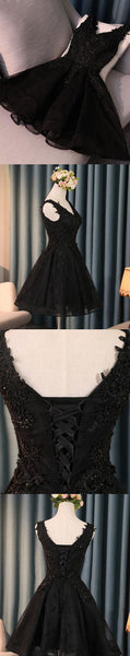 Black lace applique tulle short prom dress black homecoming dress,PD2004