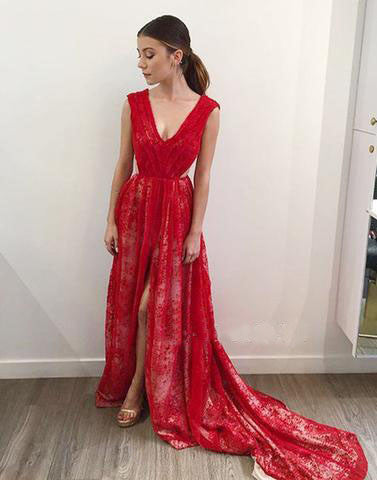 long red lace v-neck side slit 2017 charming prom dress,BD172613 - dream dress