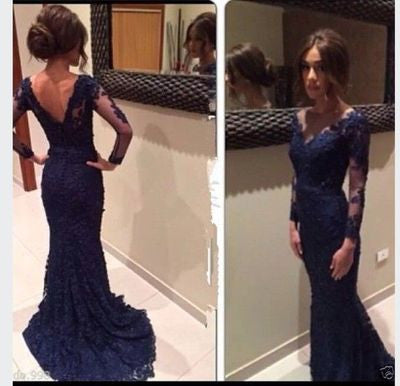 2017 Mermaid navy blue prom dress, lace prom dress,BD007 - dream dress