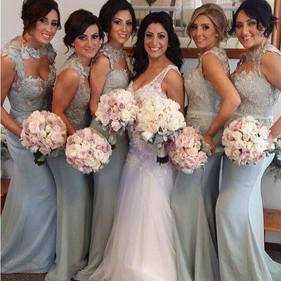 Gray bridesmaid dress,long bridesmaid dress,Mismatched bridesmaid dress,Lace bridesmaid dress,BD031 - dream dress