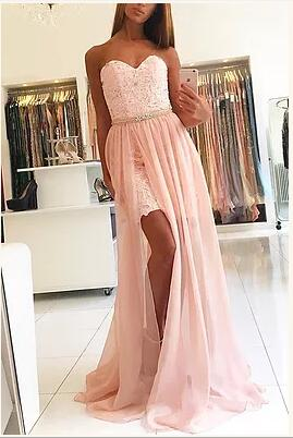 Sweetheart pink lace slit long homecoming dresses,PD0504 - dream dress