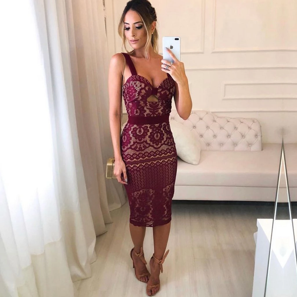 Burgundy Lace Sheath Tight Knee Length Homecoming Dresses,PD3799