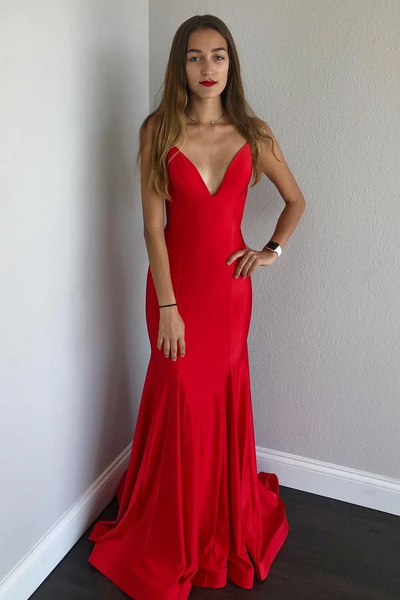 Sexy Spaghetti Straps Mermaid Satin Long Red Prom Dress with Open Back,PD3808