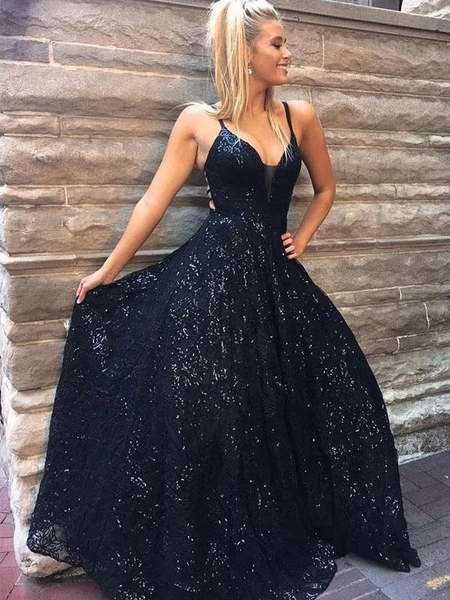 A-line Dark Navy Spaghetti Straps Lace Prom Dress Sparkly Long Evening Dresses,PD3816