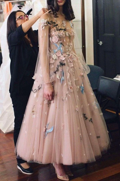 Princess A-Line Long Sleeve Blush Pink Tulle Prom Dresses with Embroidery Homecoming Dresses,PD3820