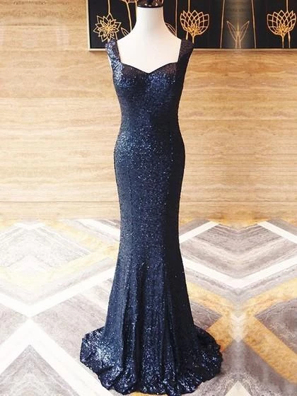 Navy Blue Straps Sleeveless Sequin Prom Dresses Mermaid Evening Dresses,PD3821