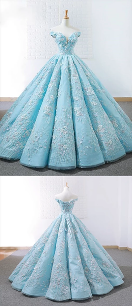 Elegant Blue Off Shoulder Lace Applique Prom Dresses Long Ball Gown,PD3822