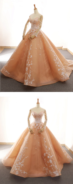 Long Sleeve Sweetheart Prom Dresses Lace Appliques Sweet 16 Dresses,PD3825