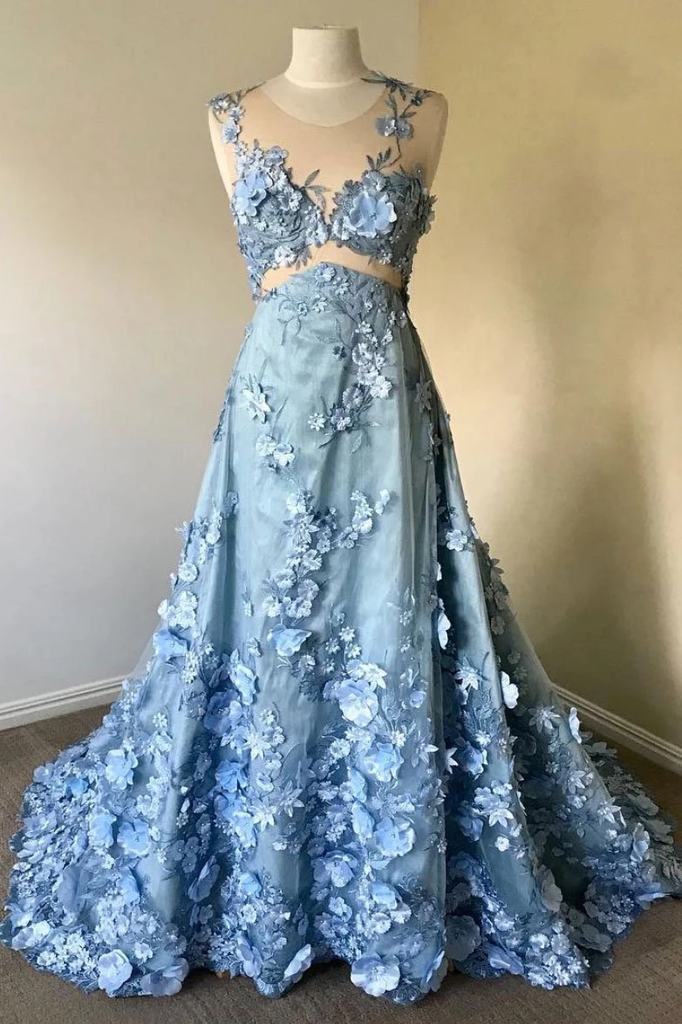 Blue round neck lace long prom dress, blue lace evening dresses,PD3827