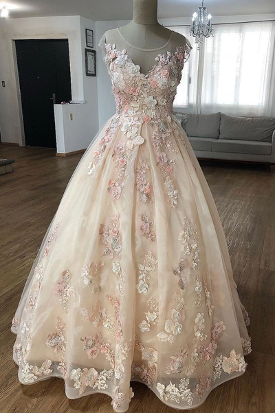 Champagne lace applique tulle long prom dresses, tulle evening dresses,PD3828