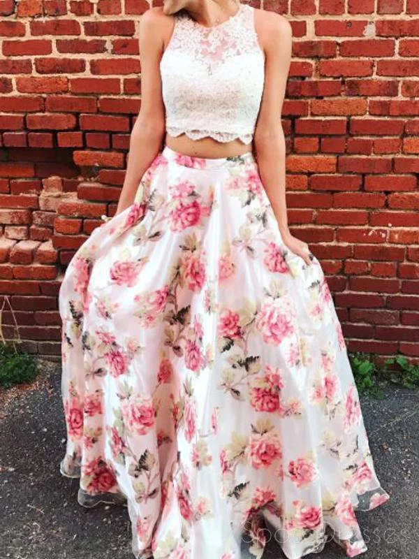 Two Pieces Lace Bodice Printed Flower Skirt Long Evening Prom Dresses,PD3832