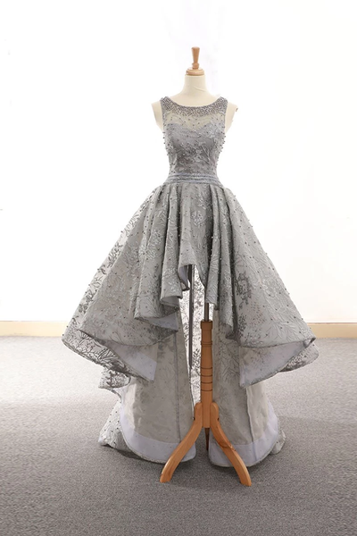 Gray tulle lace high low prom dress lace homecoming dress,PD3834