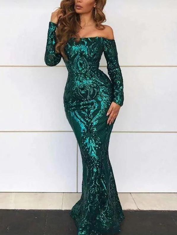 Unique Dark Green Mermaid Sparkly Long Prom Dresses Evening Dresses,PD3843