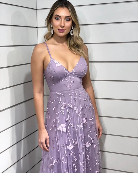 Chic Spaghetti Straps Lace Applique Lilac Long Prom Dresses Evening Dresses,PD3845