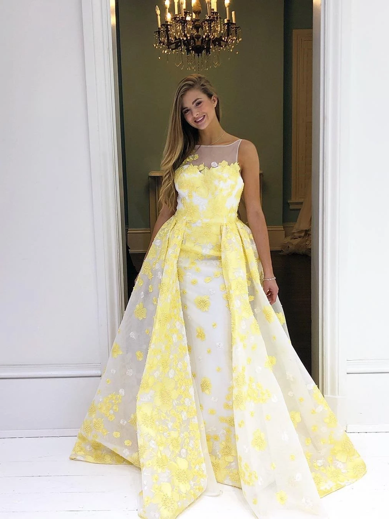 Chic A-line Bateau Daffodil Long Prom Dress Beautiful Beaded Applique Prom Dress Evening Formal Gowns,PD3847