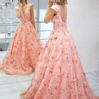 Pink 3d Floral Lace Long Prom Dresses Formal Dresses Evening Gowns,PD3848