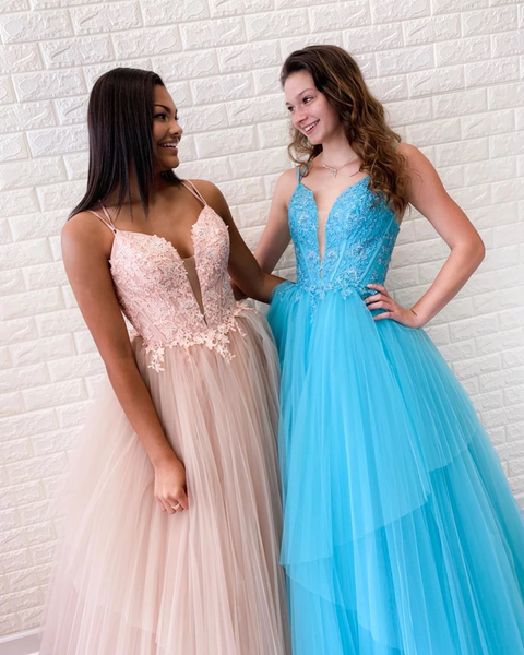 Spaghetti Straps V-Necl Lace Appliques Bodice Modest Tull Prom Evening Dresses,PD3850