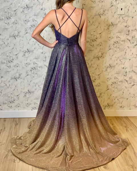 Spaghetti Straps Ombre Long Prom Dresses with Slit ,PD3860