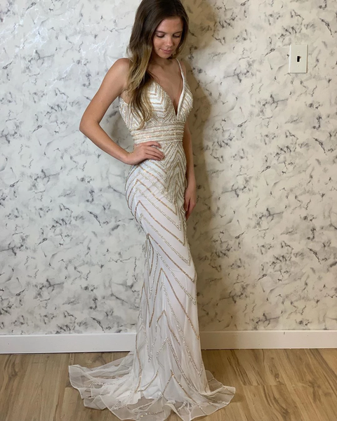 Deep V-Neck Sequin Beading Trumpet/Mermaid Prom Evening Dresses,PD3861