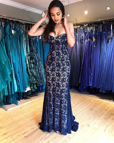 Sweetheart Lace Mermaid Prom Dresses Sweep Train,PD3863