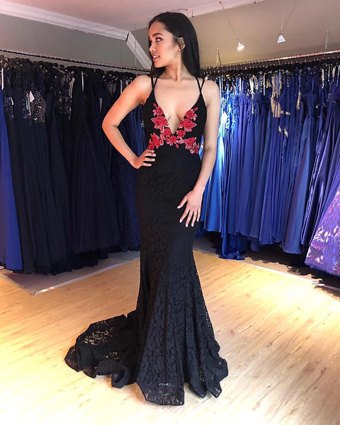 Sexy Deep V-Neck Red Embroidery Lace Prom Evening Dresses,PD3866
