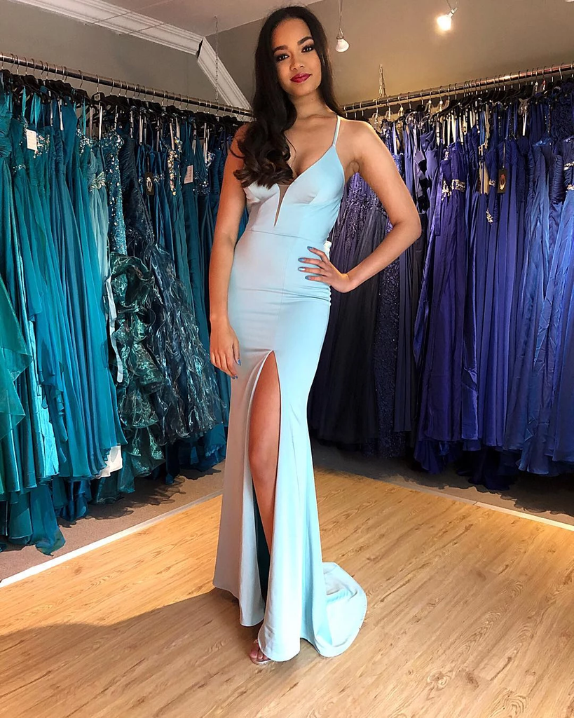 Spaghetti Lace-up Light Blue Trumpet/Mermaid Prom Dresses,PD3867