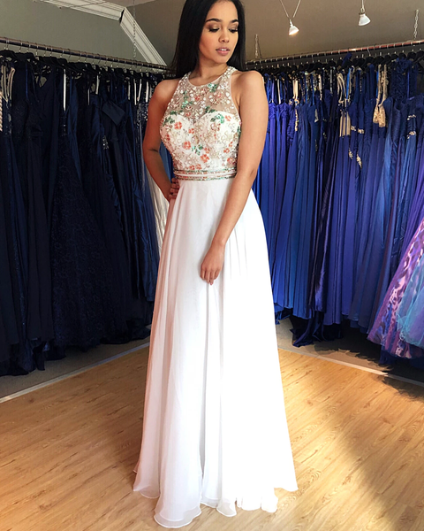 Amazing Colorful Beaded A-Line Floor Length Chiffon Prom Evening Dresses,PD3868