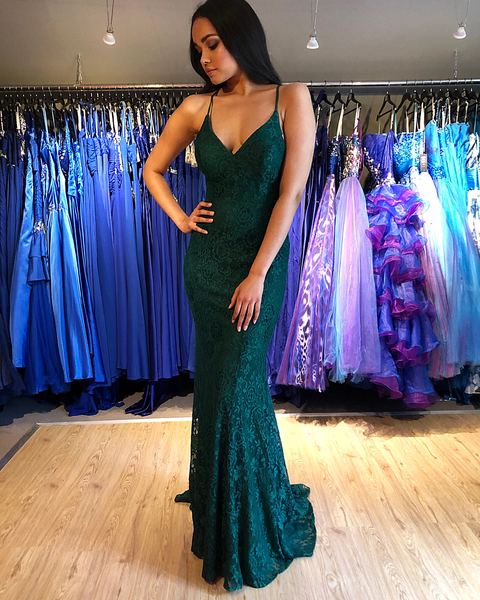 Exquisite Green Lace Lace-up Mermaid Prom Evening Dresses,PD3870