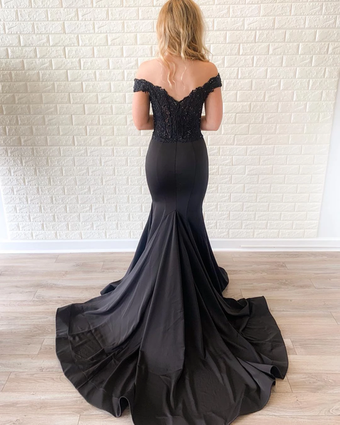 Off the Shoulder Lace Bodice Black Mermaid Prom Dresses Court Train,PD3874