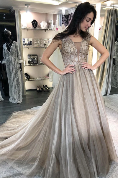 A-Line V-Neck Sweep Train Light Grey Prom Dresses with Beading,PD3876