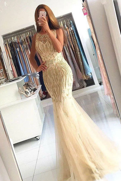 Mermaid Crew Sweep Train Champagne Tulle Sleeveless Prom Dresses with Beading,PD3878