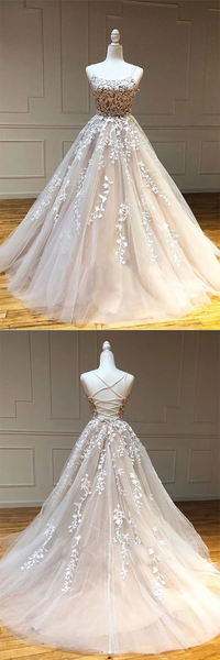 Champagne Tulle Scoop Appliqued Lace Long Prom Dresses,PD3883