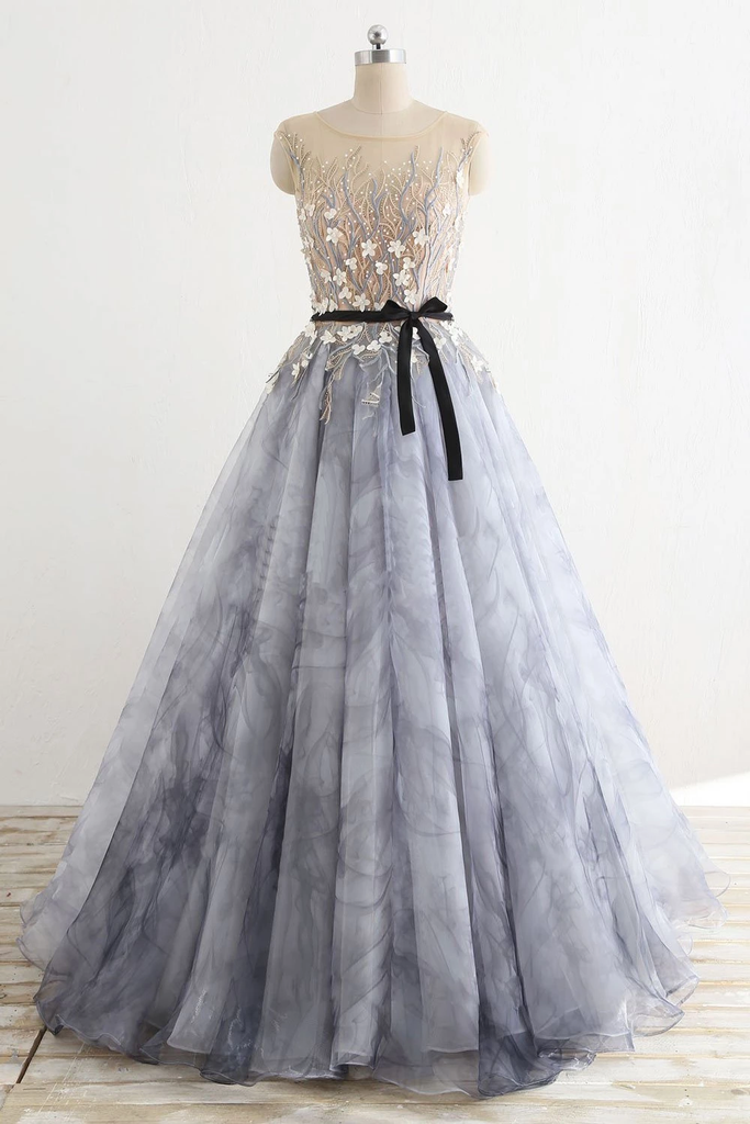 Gray Rround Neck Tulle Long Prom Dress Grey Evening Dresses,PD3884