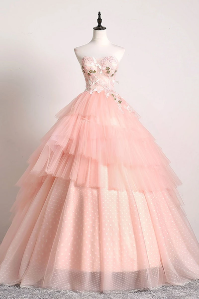 Pink Sweetheart Lace Tulle Long Prom Gown Pink Tulle Formal Dresses,PD3887