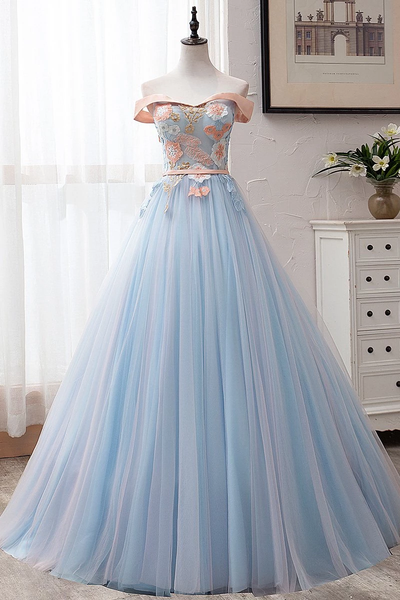 Blue Tulle Off-the-Shoulder Appliques Ball Gown Long Prom Dresses,PD3888