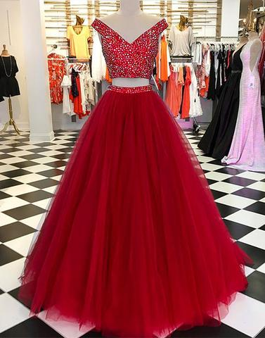 Burgundy v neck tulle beads long prom dress, burgundy evening dress