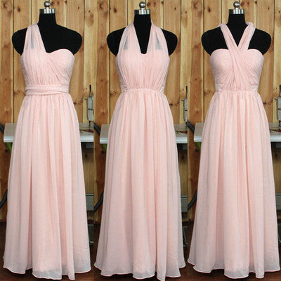 blush pink bridesmaid dress,long bridesmaid dress,convertible bridesmaid dress,chiffon bridesmaid dress,BD620 - dream dress