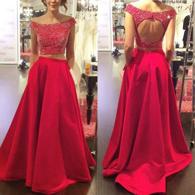 Red prom Dress,Long Prom Dresses,Two pieces prom Dress,Off shoulder prom dress,Charming prom dress,BD070 - dream dress