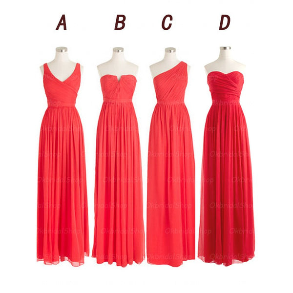 Red bridesmaid dress,long bridesmaid dress,mismatched bridesmaid dress,cheap prom dress,BD410 - dream dress