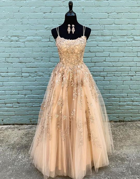 Champagne tulle lace long prom dresses, champagne tulle formal dresses,PD3774